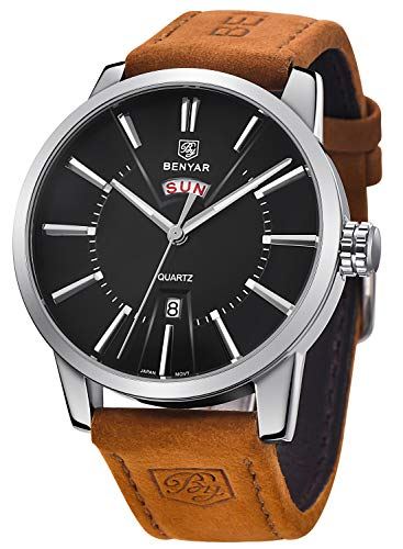 (BENYAR Watches Men Classic Business Casual Waterproof Quartz Watch Brown Leather Band Black Dial Watch for Men)