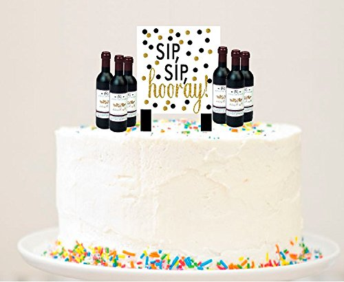 Alcohol Lovers Petite Mini Cake / Food / Cupcake Birthday Party Decoration Topper Picks w. Plaque (6pack Wine Bottle)