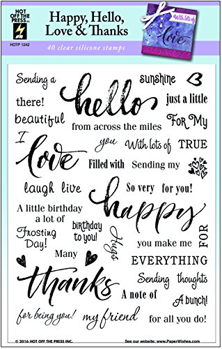 - Clear Silicone Stamp Set by Hot Off The Press | Scrapbooking, Card Making, Gifts and Home Décor - Inspiration at Your Finger Tips (Happy, Hello, Love & Thanks)