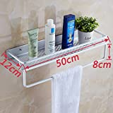 Space aluminum kitchen rack bathroom accessories free punch toilet 1-story single-tier Towel rack towel rack from nails hair dryer (Punch) tray bar 50 cm