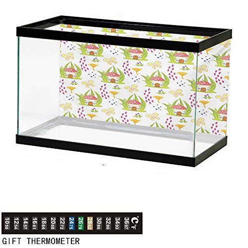 wwwhsl Aquarium Background,Mushroom,Spring Forest Toadstool House Cartoon Pattern Kids Fictional Fairytale Image Art,Multicolor Fish Tank Backdrop 24