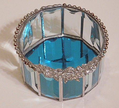 Round Turquoise and Beveled Beaded Jewelry Box, Ornate Floral Closure, Ring Box, (Ornate Jean)