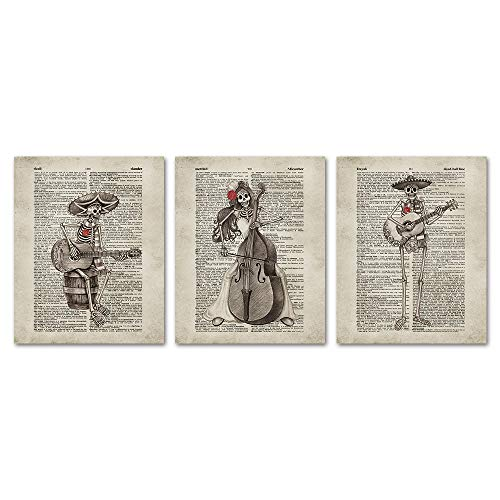SUMGAR Day of The Dead Vintage Dictionary Page Art Prints Sugar Skeleton Music Party Unframed Posters Halloween Decoration Gifts Set of 3,8x10 ()
