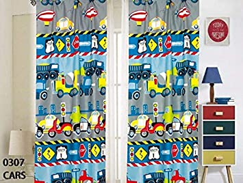 Sapphire Home Set of 2 Window Curtain Panels with tiebacks for Kids Boys Dinosaur Design Print Curtains for Boys Kids Dinosaur Curtain Blue Green Kids Teens Room D/écor