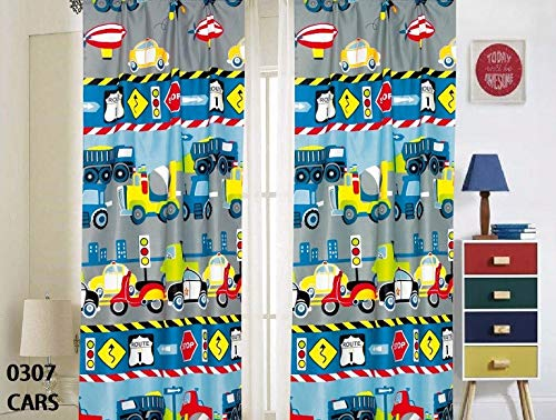 Kids Boys Window Curtain Panels with tiebacks (4 Piece Set), Cars Trucks Police Tractor Plane Design Print Window Curtain for Boys Kids, Multicolor Gray Blue Green Teens Kids Room Dcor