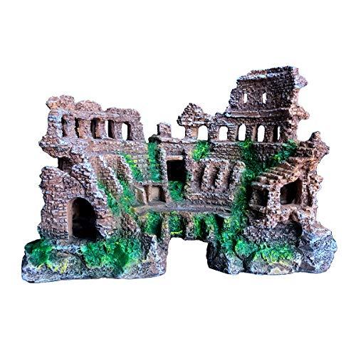 (XiR Roman Coliseum Ruins Cave Large Aquarium Ornament Decor Arena Colosseum for Fish Tank 1.4