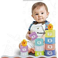 PLUSPOINT Rainbow Stacking & Nesting Cups Baby Building Set. 11 Pieces. with Numbers for Indoor, Outdoor, Bathtub, and Beach Fun Toy. Multi Colors