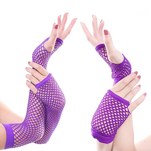2 Pairs Stretchable Fingerless Fishnet Neon Gloves for Party (1 short + 1 long) Suit for Most Occassion (Purple Fishnets)