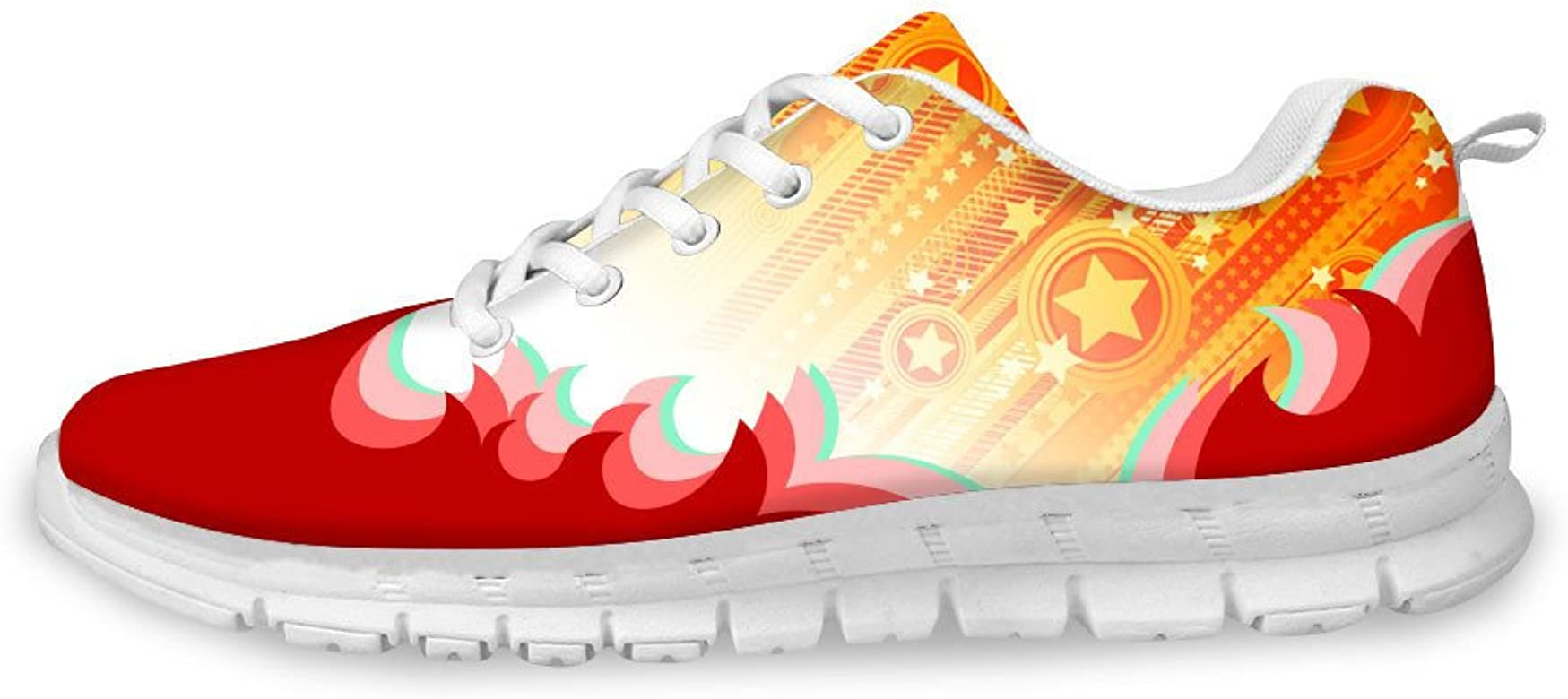 AXGM - Zapatillas de Correr para Hombre, diseño de Estrellas Rojas y Llamas, Transpirables, Color, Talla 39 EU: Amazon.es: Zapatos y complementos