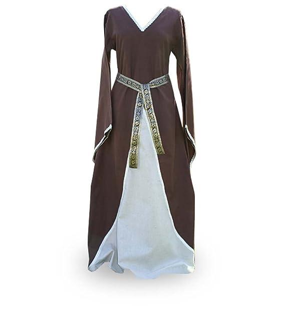Vestido Medieval de Mujer: Merlyn Incluye Cinturón, schnürbar Braun, Natur M