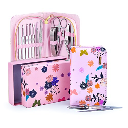 Exclusive Manicure Set & Pedicure Kit 12Pcs of Stainless Steel Manicure Pedicure Set, for Travel Home Comes With Premium Quality Floral Zipper Case grooming kit for women teen manicure set (Pink)