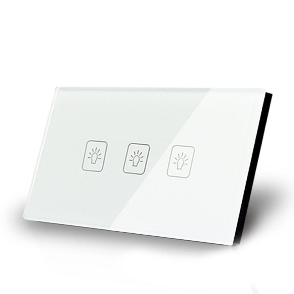 Wallpad Us Standard 3 Gang Triple White Wall Switch Touch Sensor Gold On Black Wiring Light