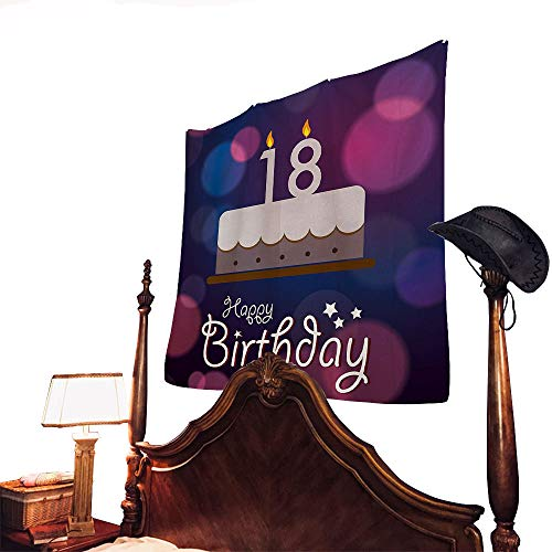 (letterson 18th Birthday Hippie Tapestry Cartoon Birthday Party Cake with Candles Vibrant Abstract BackdropPurple and Lilac 60