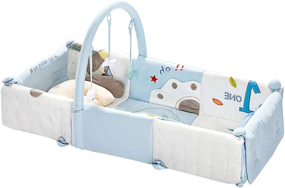 HANSHAN ベビーベッド ベビーベッド、ベビーベッド多機能新生児ポータブル折りたたみ旅行ベッド2色0-4歳39×18×8インチ (色 : 青)