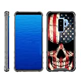 TurtleArmor | Compatible with Samsung Galaxy S9 Case | G960 [Flexible Armor] Hard Impact Clear TPU Flexible Case Slim Shockproof Cover Protector with Smoke Edges - US Flag Skull