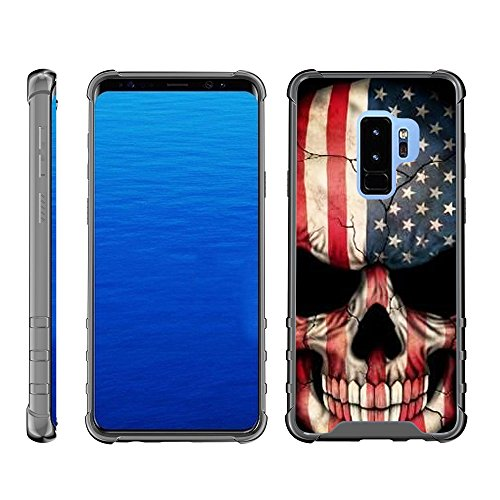 (TurtleArmor | Compatible for Samsung Galaxy S9 Case | G960 [Flexible Armor] Hard Impact Clear TPU Flexible Case Slim Shockproof Cover Protector with Smoke Edges - US Flag Skull)