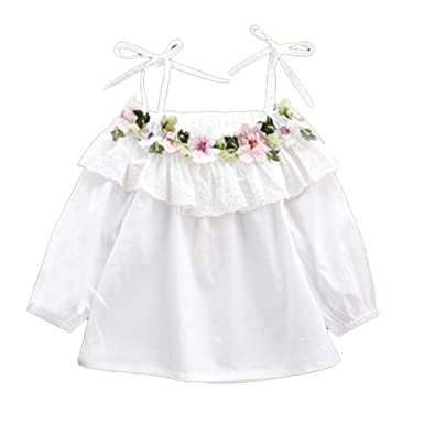 Amazon colorful childhood little girls off shoulder flower colorful childhood little girls off shoulder flower white t shirt summer blouse size 3 4t mightylinksfo
