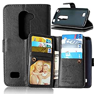 LG Leon Case,LG Leon Wallet Case,LG Leon Leather Case,Candywe LG Accessories [PU] Design With Card Slots and Money Pocket for LG Leon Black