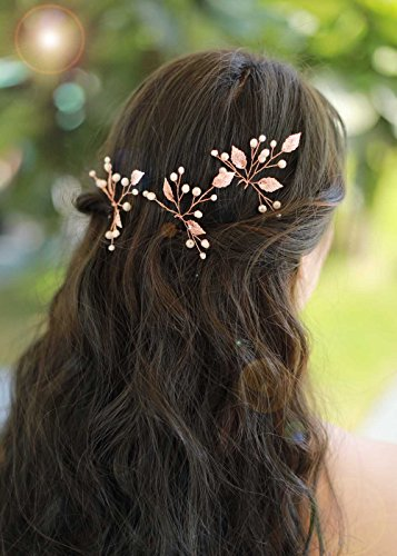 Missgrace Bridal Crystal Leaf Rose Gold Hair Pins Women Crystal Headpiece Wedding Rose Gold Leaf Hair Pins Clip Hair Jewelry Wedding Hair Accessories (Pack of 3)
