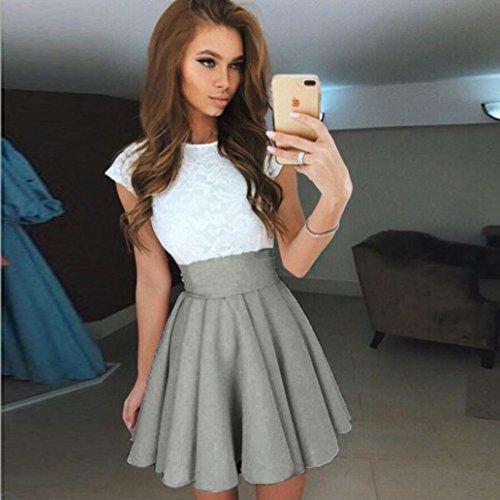 Taille Longue BZLine Haute Pliss Skirt t Classique Bureau Femmes Stretch Cocktail Chic Party Casual lgante Gris Jupe rxYTYwqZpt