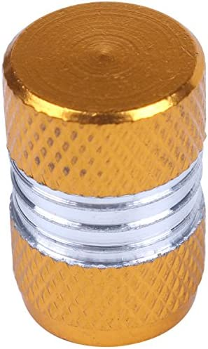 REFURBISHHOUSE 4xアルミ合金カーオートバイ ホイールタイヤバルブステムキャップ 防塵カバー 黄色