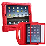 HDE iPad Air 2 Bumper Case for Kids Shockproof Hard Cover Handle Stand with Built in Screen Protector for Apple iPad Air 2 (Red)