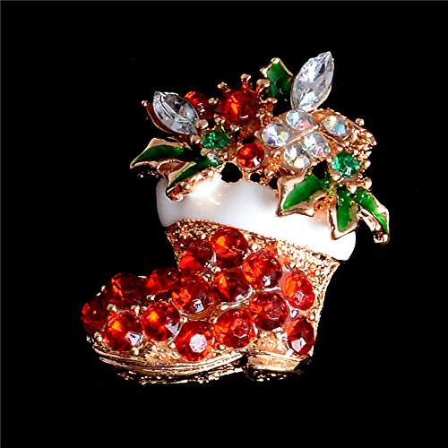 Hot Selling Red Flower Crystal Christmas Shoes Brooches Pins For - Eyeglasses Chanel Womens