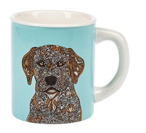- Ganz Curious Yellow Lab Dog Bright Aqua Blue Dolomite Ceramic 14 Ounce Coffee Mug