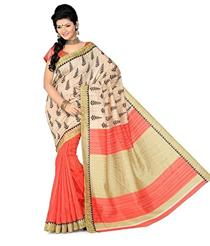 Art Silk Saree With Blouse(S51-VBK133A_Beige)