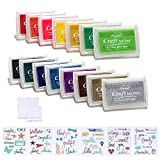Decora 15pcs Ink Pads and Small Clear Stamps Work with Stamp Block