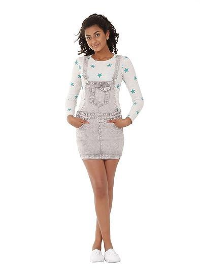 Niñas - Peto Falda 8-16 Años Gris Dungaree Dress IZZIEGREYWASH ...