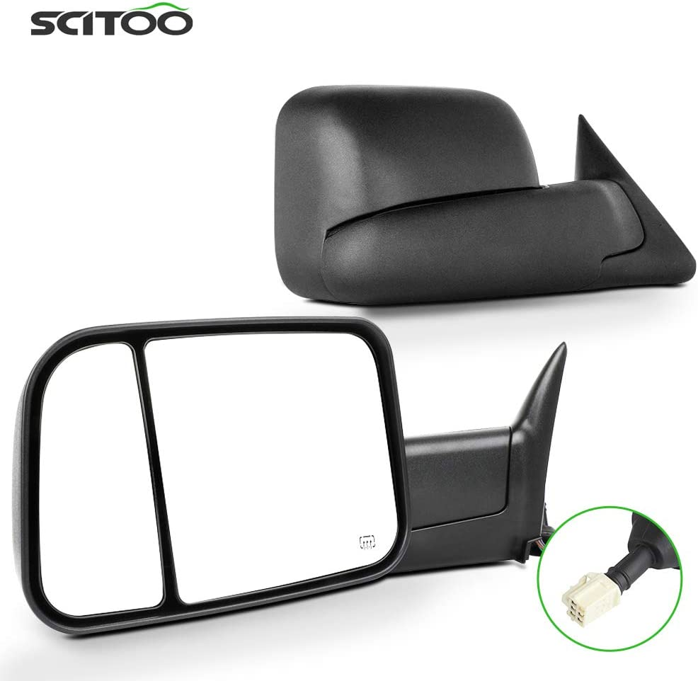 SCITOO Towing Mirror Tow Mirror Black Truck Mirror fit for 1998-2001 Dodge Ram 1500 1998-2002 Dodge Ram 2500 Ram 3500 with PC LH Power Adjusted Heated No Turn Signal Light