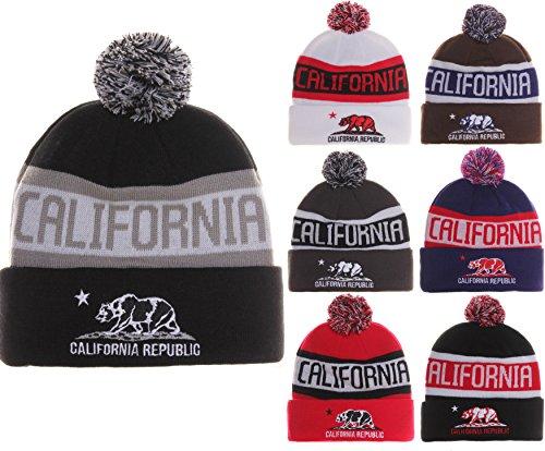 c89c4fd0cb9 California Republic Bear Cuff Pom Pom Beanie Knit Hat Cap - Many Colors. by  absolute accessory