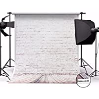 MOHOO 5X7ft 100% Polyester Photography Background Beige Brick Wall Wood Floor Photo Backdrop for Studio Prop1.5x2.1M
