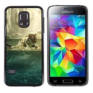 Paccase / Dura PC Caso Funda Carcasa de Protección para - Tiger Painting Powerful Animal Art Ocean - Samsung Galaxy S5 Mini, SM-G800, NOT S5 REGULAR!