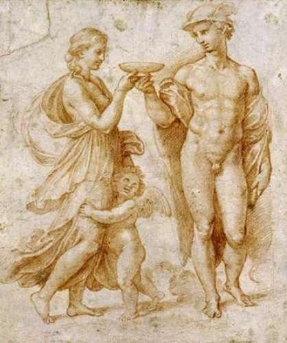 "Mercury Offering The Cup of Immortality To Psyche by Raphael - 10"" x 12"" Giclee Canvas Art Print"