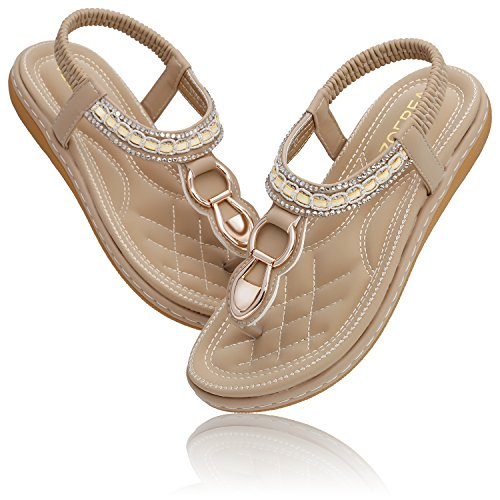 Ladies Shoe Women Summer Beach T ZOEREA Bohemia Apricot Sandals Peep Strap Toe Holiday dO08qF