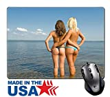 "MSD Natural Rubber Mouse Pad/Mat with Stitched Edges 9.8"" x 7.9"" IMAGE ID: 10309192 Two girls sunbathing on the beach"