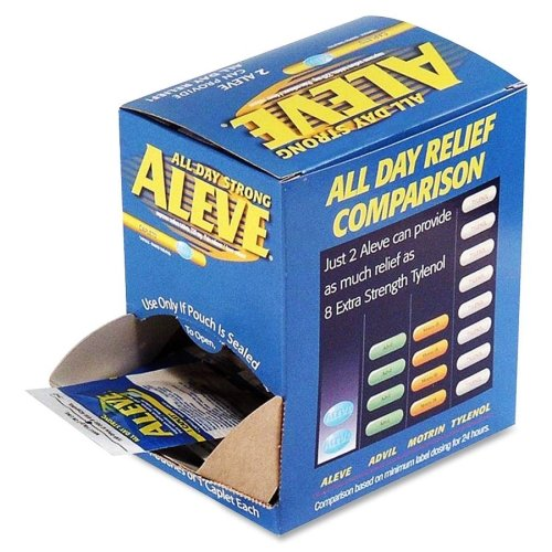 Aleve Pain Reliever Single Dose Packets - Arthritis, Headache, Muscular Pain, Toothache, Backache, Common Cold, Menstrual Cramp - 50 / Box ()