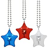 American Patriotic USA Flag United States of America LED COLOR MAY VARY Patriotic Flashing Star Beaded Necklaces, 36 in. (1)