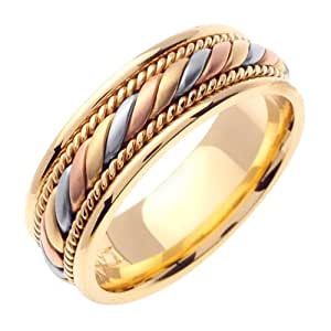 Beverly Diamonds Tri-color-gold MENS 14K 3-TONE WEDDING BAND RING - 8.5