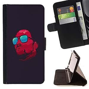 - red glasses cool Satan dark/ Personalizada del estilo del dise???¡¯???¡Ào de la PU Caso de encargo del cuero del tir???¡¯????n del s - Cao - For Samsung
