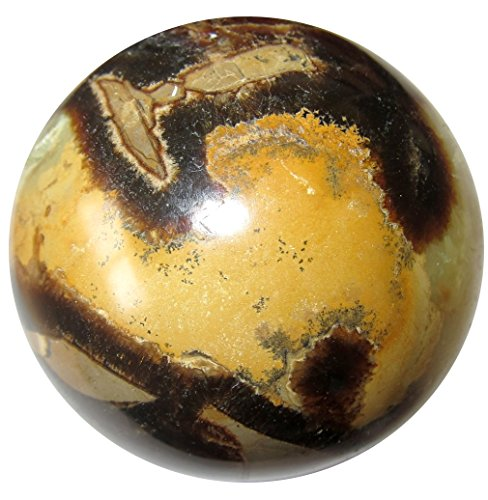 Septarian Ball 54 Gorgeous Yellow Stone with Dendritic Landscape Orange Mineral Sphere Art Crystal 2.9""