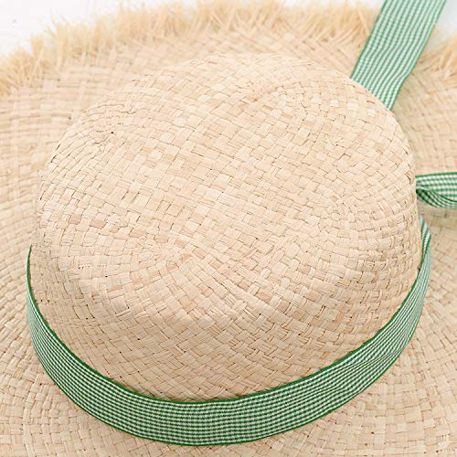 3c427b71 Amazon.com : ALWLj Summer Hat Straw Raffia Sun Hats for Women Boater Hat  for Girls Beach Hats with Green Ribbon Frayed Edge : Sports & Outdoors