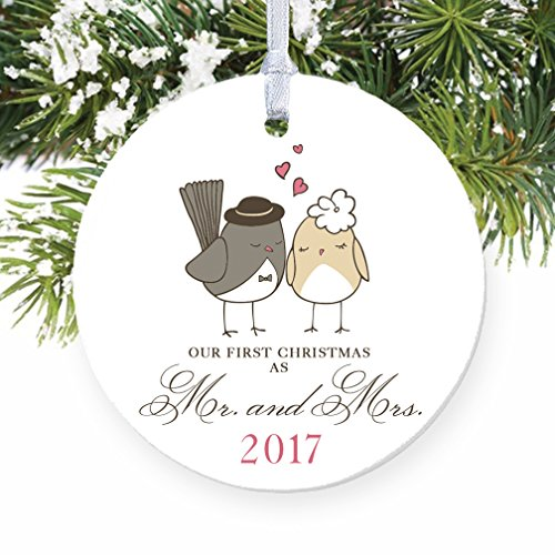Love Birds Ornament 2017, Mr & Mrs Ornament, Wedding Gift Porcelain Ornament, 1st Married Christmas, 3