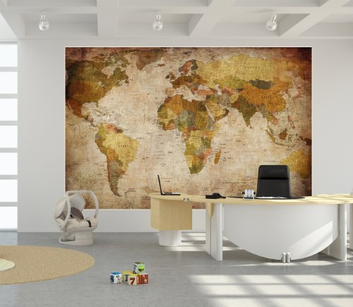 World atlas map wallpaper vintage retro decor wall large for Decoration xxl