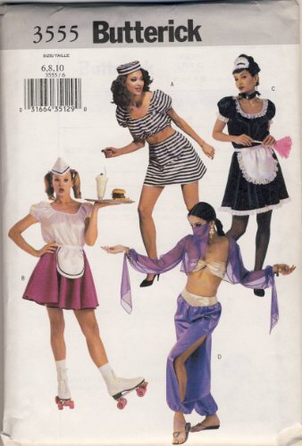 Butterick Pattern 3555 Misses' Costumes (French Maid, Sexy Jailbird, Harem Girl, Carhop), (Carhop Costumes)