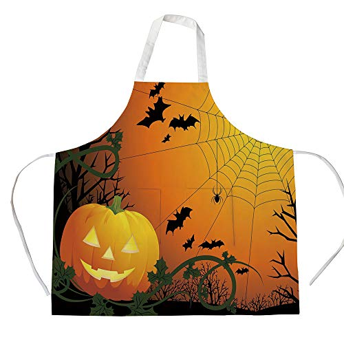iPrint Cotton Linen Apron,Two Side Pocket,Spider Web,Halloween Themed Composition with Pumpkin Leaves Trees Web and Bats Decorative,Orange Dark Green Black,for Cooking Baking Gardening