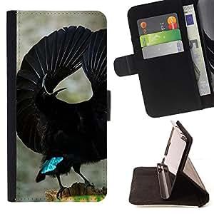 - bird tropical black flight ornithology - - Prima caja de la PU billetera de cuero con ranuras para tarjetas, efectivo desmontable correa para l Funny HouseFOR Apple Iphone 4 / 4S