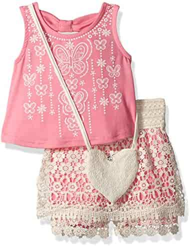 Beautees Little Girls' 2 Piece Sleeveless Back Bow Top and Embroidered Shorts